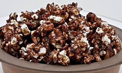 Recipe for Cocoa Nib Pink Pepper Caramel Corn from TableFare