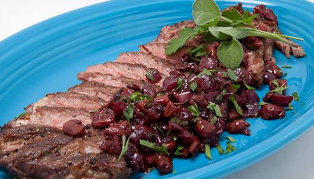 Recipe for Grilled Rib Eye Steak with Dried Cherry and Fresh Sage Relish from TableFare
