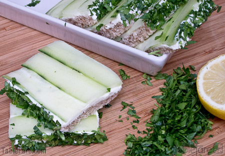 Recipe for Lemon and Dill Cucumber Finger Sandwiches from TableFare