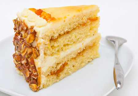 Recipe for Kumquat Fennel Seed Cake with Honey Mascarpone Icing and Almond Fennel Seed Brittle from TableFare