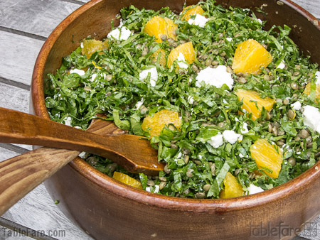 Recipe for French Green Lentil & Kale Salad with Orange and Goat Cheese from TableFare