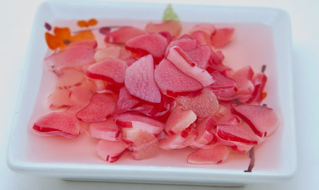 Recipe for Rhubarb Quick Pickle Chips from TableFare