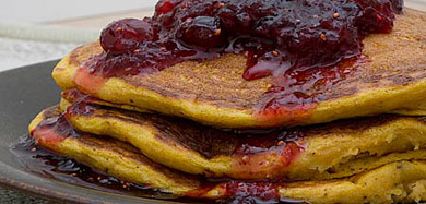 Recipe for Pumpkin Pancakes with Cranberry Maple Syrup from TableFare