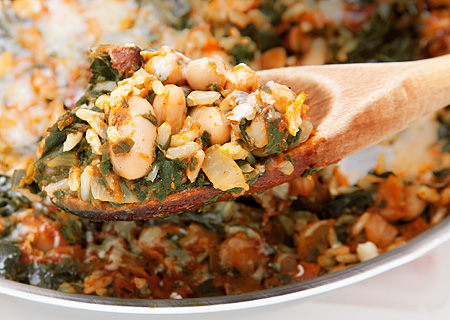 Recipe for Rice Pilaf with Spinach and White Beans from TableFare