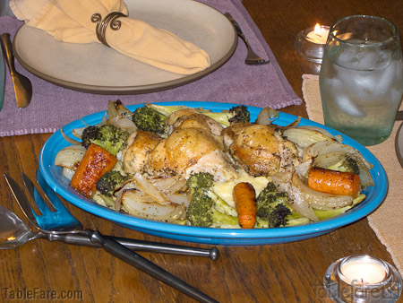 Recipe for $5 Challenge Herb Roasted Chicken Legs and Vegetables from TableFare