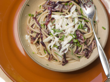 Spaghetti with Sauteed Radicchio and Scamorza