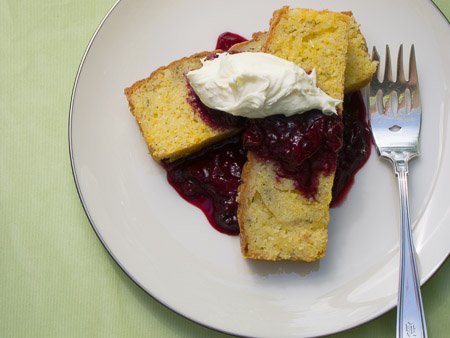 Rosemary-Polenta Cake with Warm Plum Compote