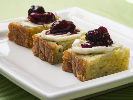 Bite-sized Rosemary-Polenta Cake with Warm Plum Compote